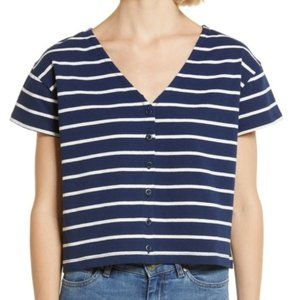 Madewell Blue Stripe Button-Front Boxy Crop Tee Sm